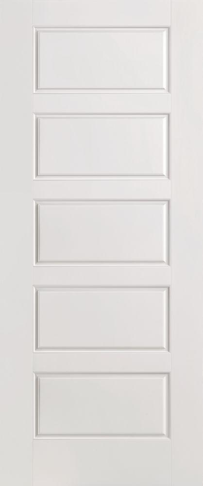 36-inch x 80-inch Primed Smooth 5 Panel Equal Interior Door Slab