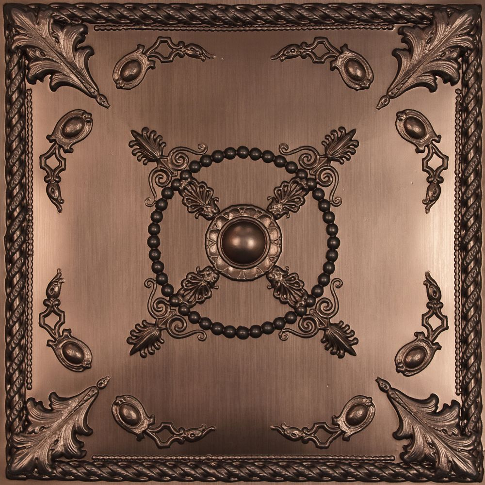 Alexander Faux Bronze Ceiling Tile, 2 Feet x 2 Feet Lay-in or Glue up