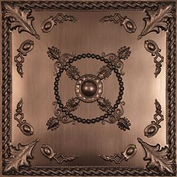 Ceilume Alexander Faux Bronze Ceiling Tile, 2 Feet x 2 Feet Lay-in or Glue up