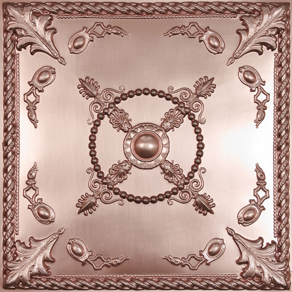 Alexander Faux Copper Ceiling Tile, 2 Feet x 2 Feet Lay-in or Glue up
