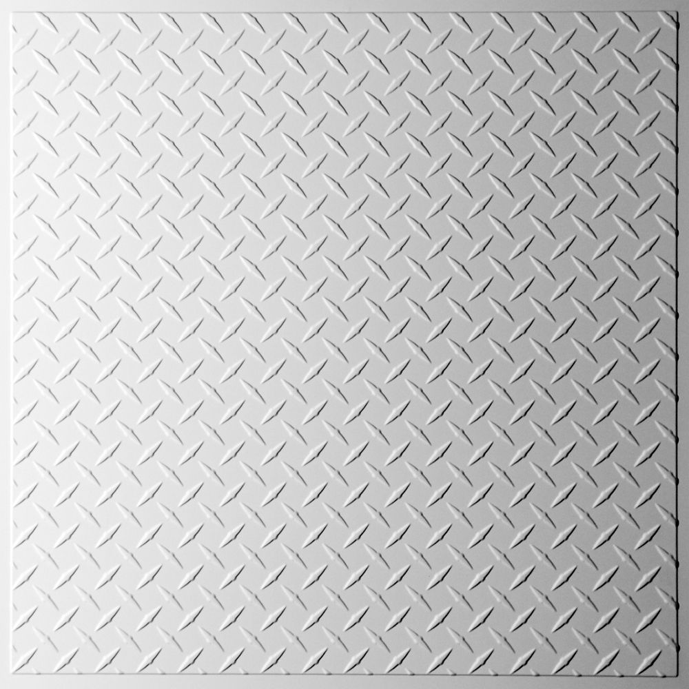 Diamond Plate White Ceiling Tile, 2 Feet x 2 Feet Lay-in or Glue up