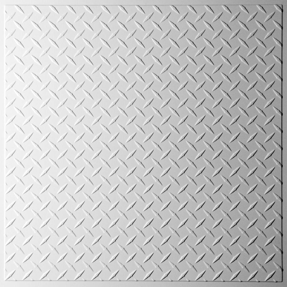Diamond Plate Tuile de Plafond Blanche, 2 pieds x 2 pieds à poser ou coller