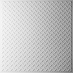Diamond Plate White Ceiling Tile, 2 Feet x 2 Feet Lay-in or Glue up