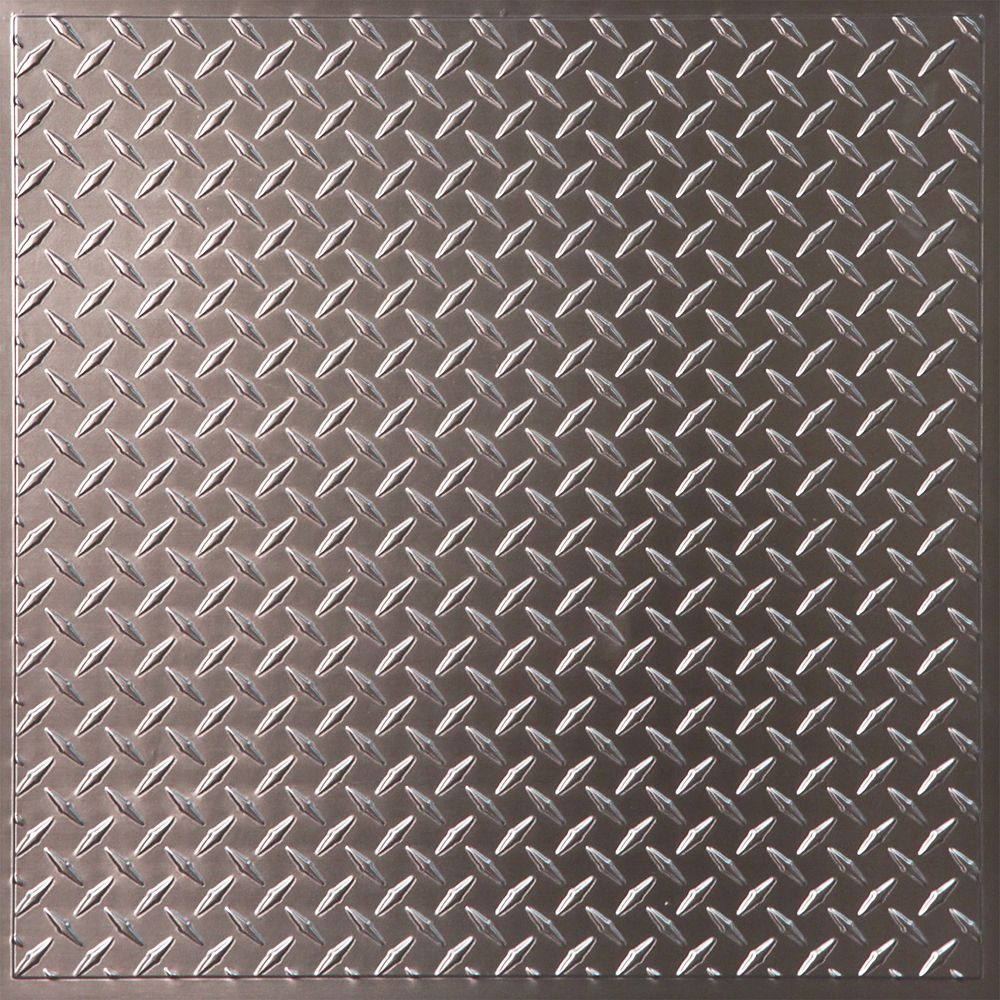 Ceilume diamond plate faux tin ceiling tile 2 feet x 2 for 7 home depot