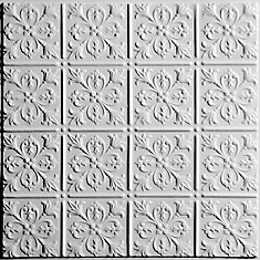 Fleur-de-lis White Ceiling Tile, 2 Feet x 2 Feet Lay-in or Glue up
