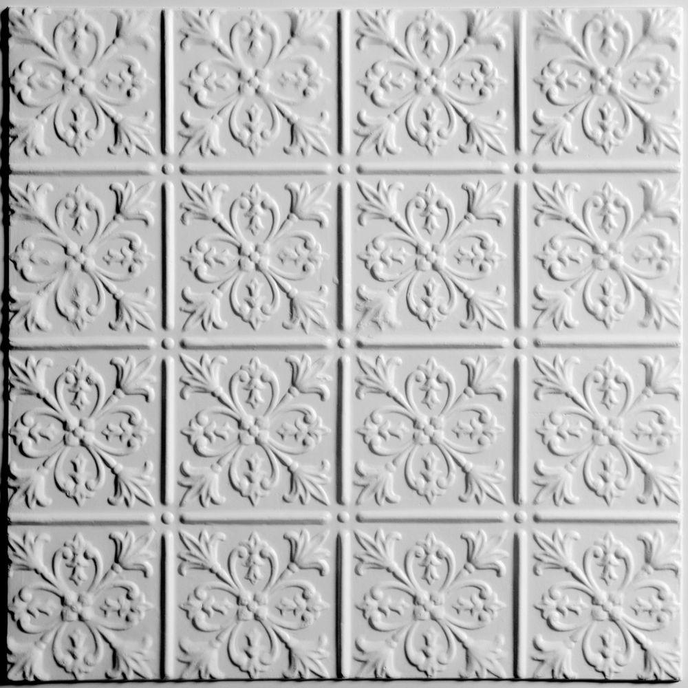 Ceilume Fleur-de-lis White Ceiling Tile, 2 Feet x 2 Feet Lay-in or Glue up