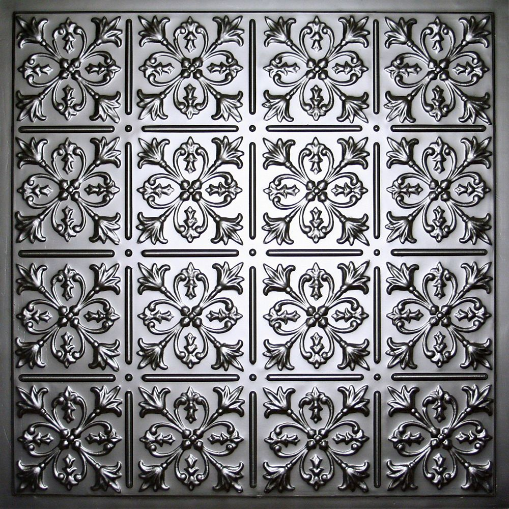 Fleur-de-lis Tuile de Plafond Noire, 2 pieds x 2 pieds à poser ou coller