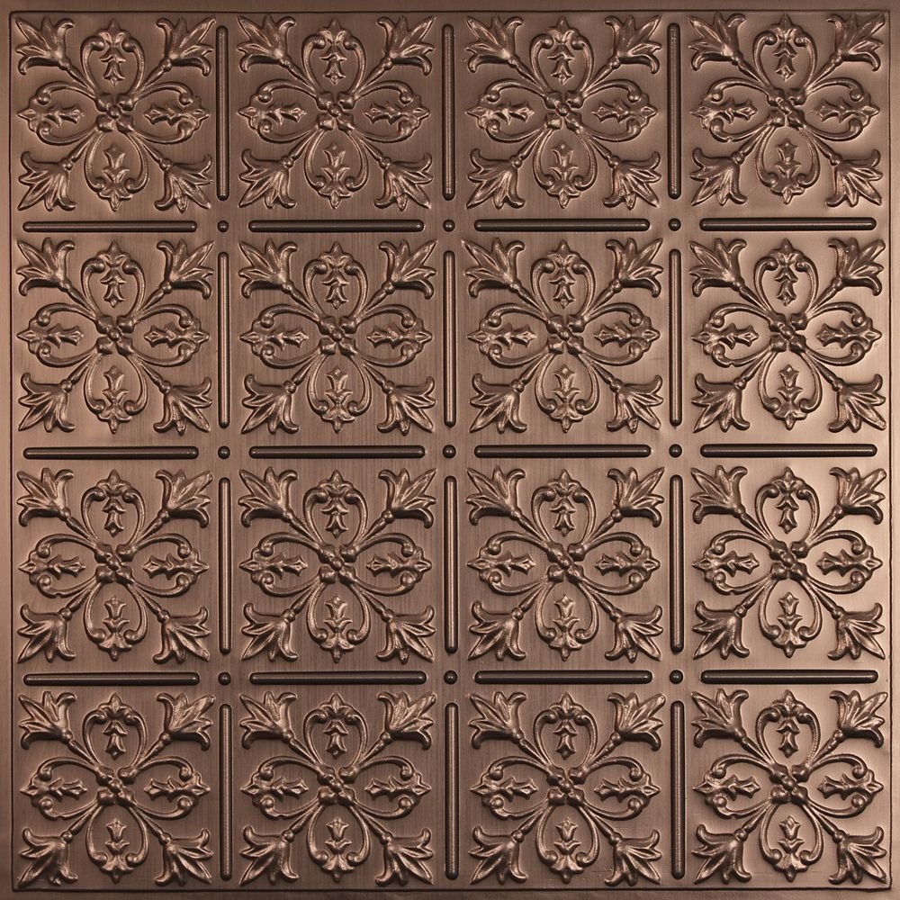 Fleur-de-lis Faux Bronze Ceiling Tile, 2 Feet x 2 Feet Lay-in or Glue up