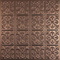 Fleur-de-lis Faux Bronze Ceiling Tile, 2 Feet x 2 Feet Lay-in or Glue up