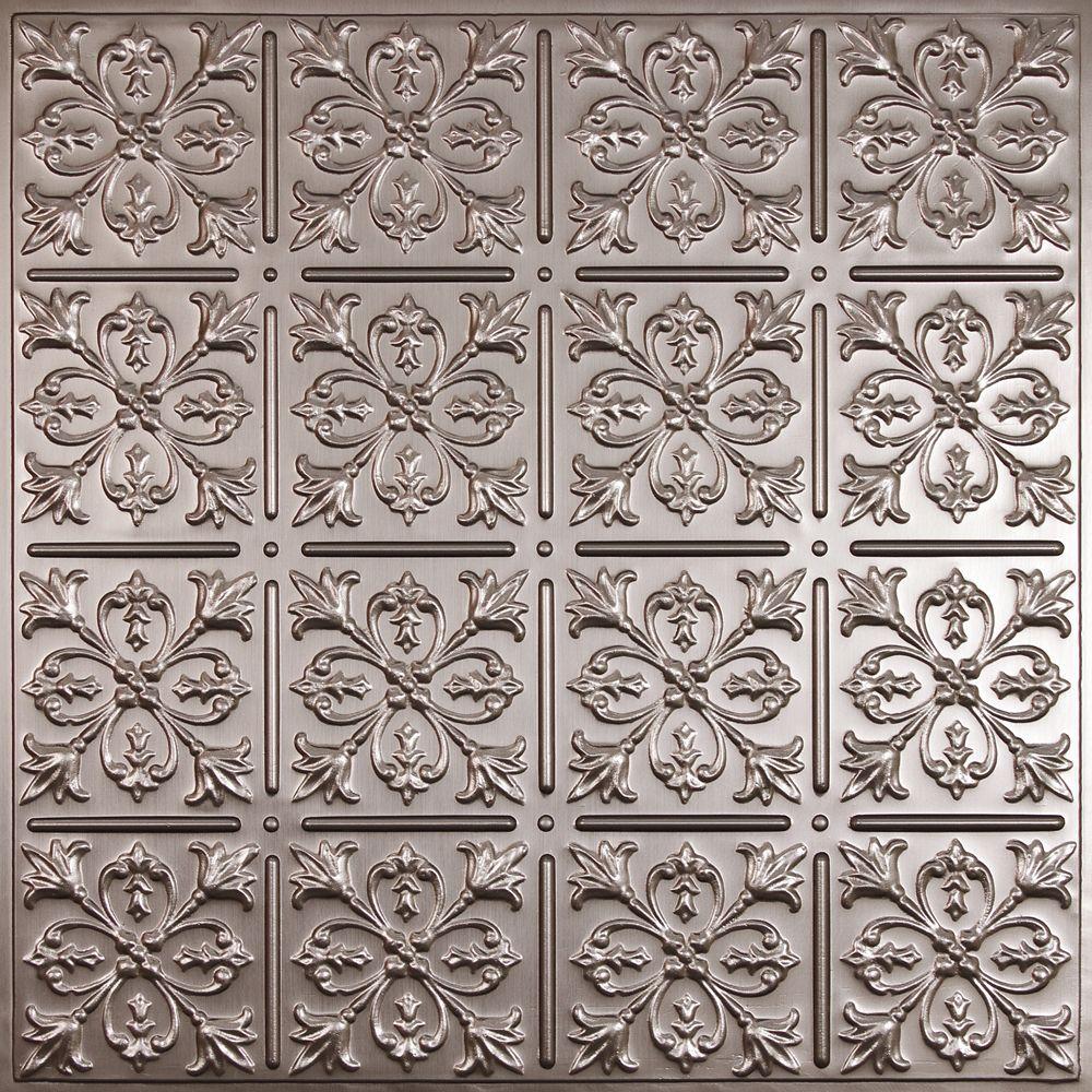 Fleur-de-lis Tuile de Plafond en Faux Etain, 2 pieds x 2 pieds à poser ou coller