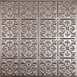 Ceilume Fleur-de-lis Faux Tin Ceiling Tile, 2 Feet x 2 Feet Lay-in or Glue up