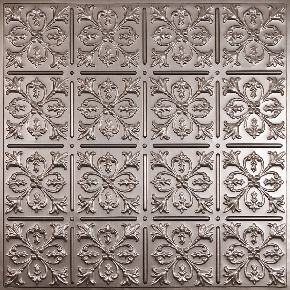 Ceiling tiles the home depot canada fleur de lis faux tin ceiling tile 2 feet x 2 feet lay dailygadgetfo Image collections
