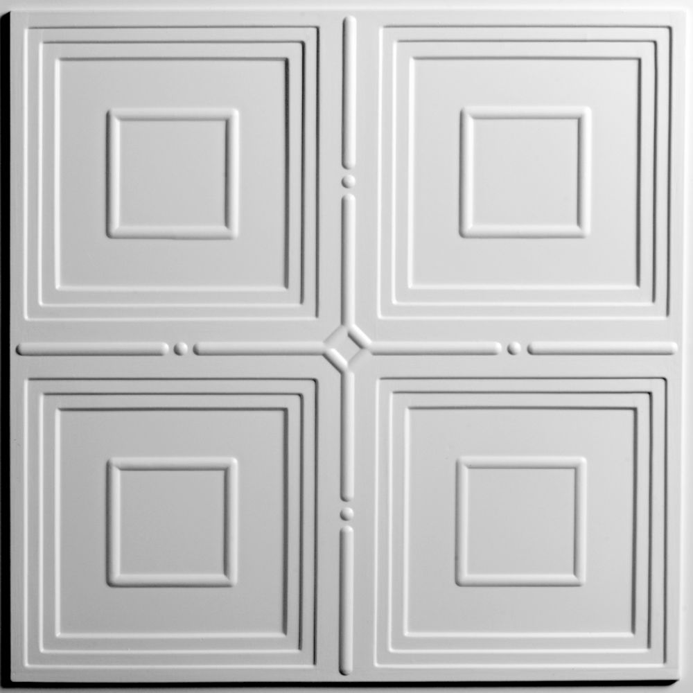 Ceiling tiles the home depot canada jackson white ceiling tile 2 feet x 2 feet lay in or glue up dailygadgetfo Gallery