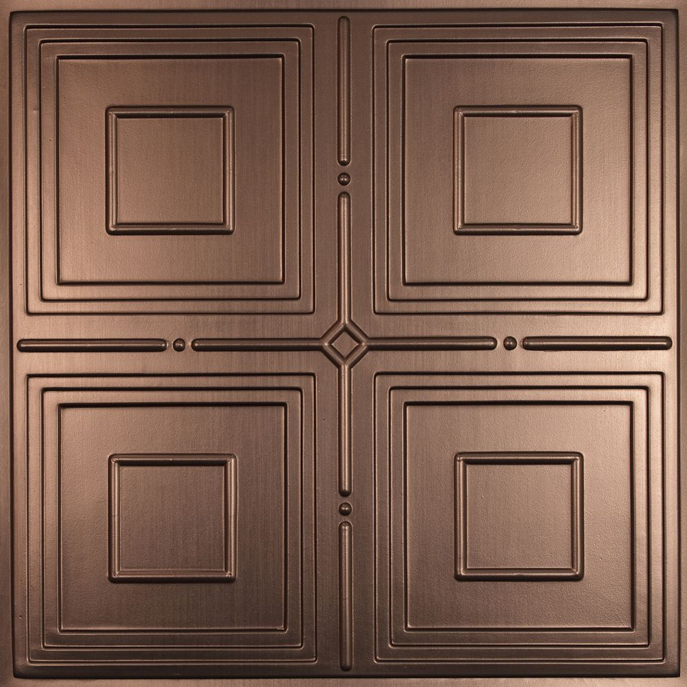 Jackson Faux Bronze Ceiling Tile, 2 Feet x 2 Feet Lay-in or Glue up