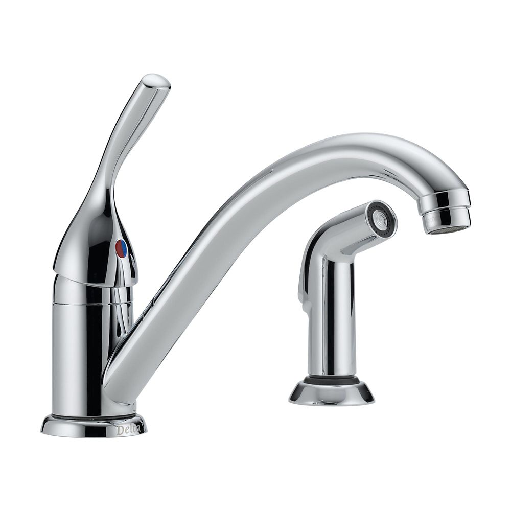 Classic Single Handle Kitchen Faucet with Spray in Chrome