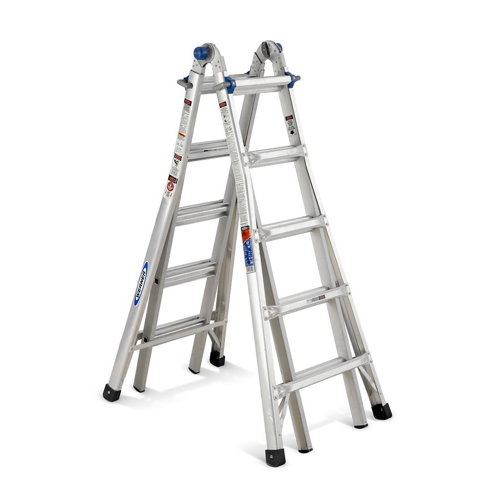 werner aluminum telescoping multi-purpose ladder grade 1a  300  load capacity