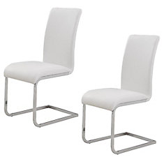 Maxim Metal Chrome Parson Armless Dining Chair with Black Faux Leather Seat - Set of 2