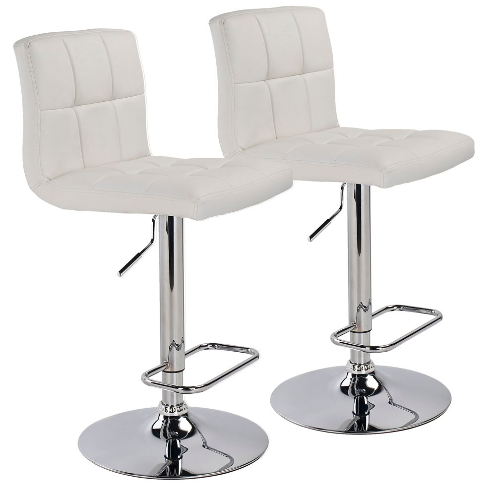 Max - Box of 2 - Adjustable Gas Lift Stool - White