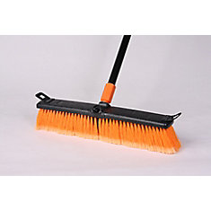 18 in Rough Surface Poly Push Broom, Black/Orange - 18 Inch