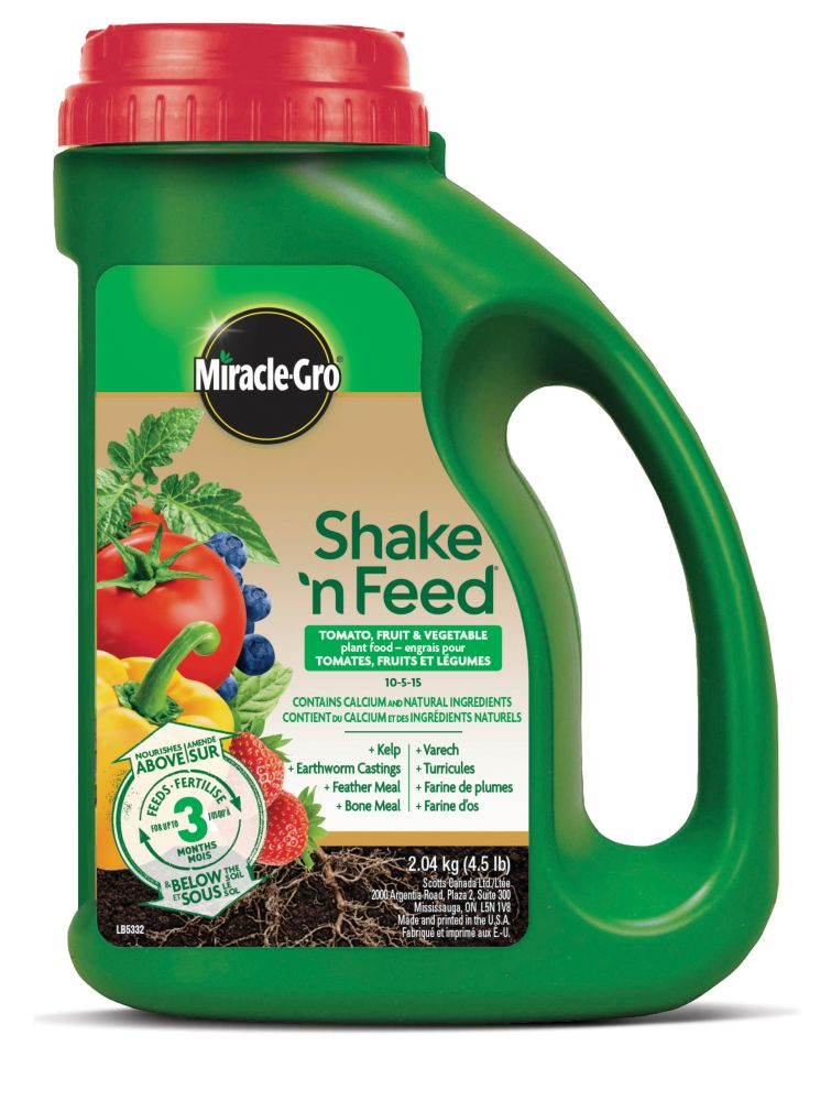 Miracle-Gro Shake'n Feed pour tomates, fruits et légumes Engais à libération progressive 9-4-12 a...