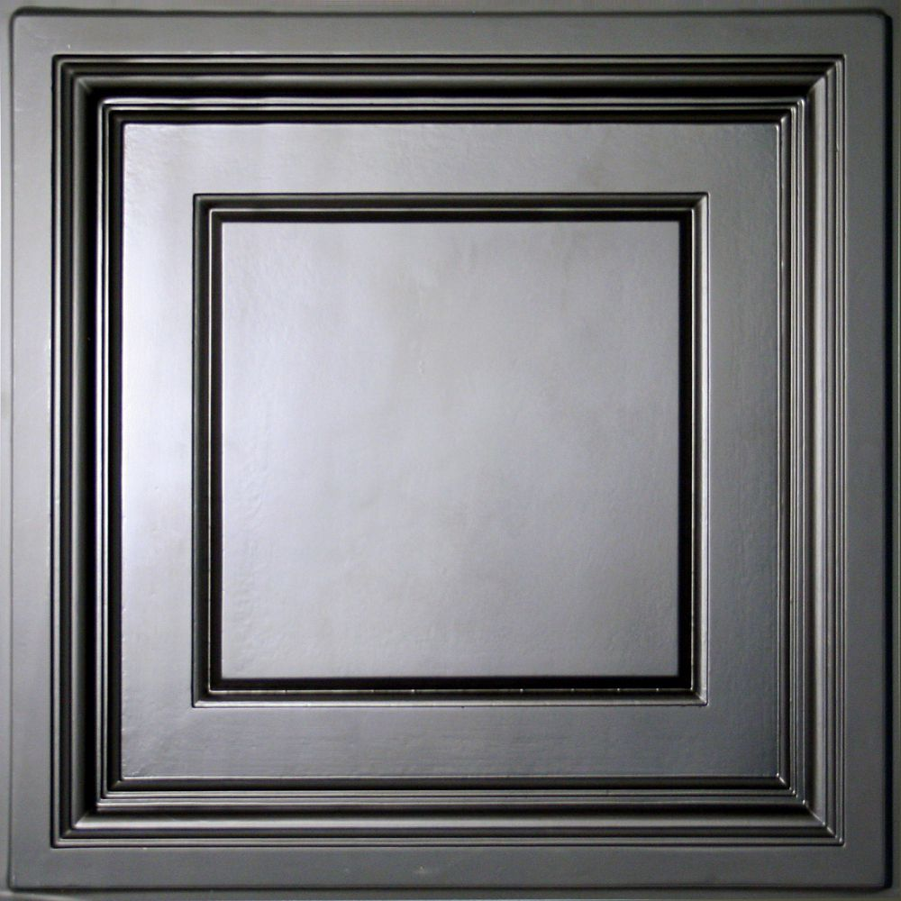 Madison Black Coffered Ceiling Tile, 2 Feet x 2 Feet Lay-in only