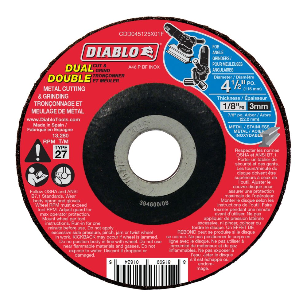 DC Duo Cut and Grind Disc CDD045125X01F Canada Discount