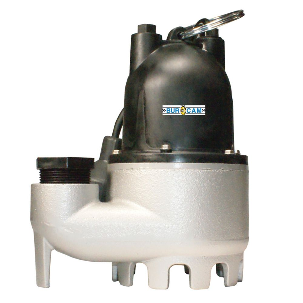 Bur-Cam 1/3 HP Rugged Cast Iron Submersible Sump Pump with Automatic Start-Stop Cycle.