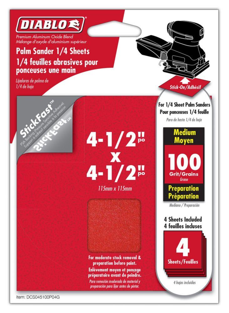 Premium Sanding Sheet 4.5x4.5 Inch 100 Grit