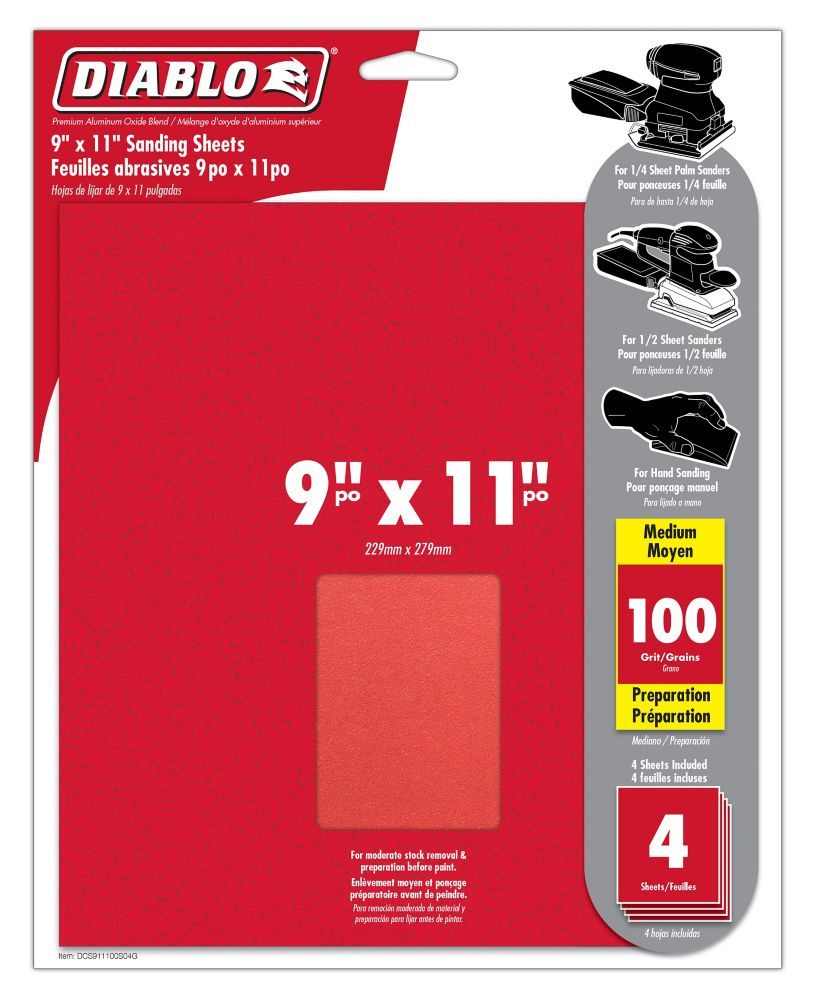 Premium Sanding Sheet 9x11 Inch 100 Grit
