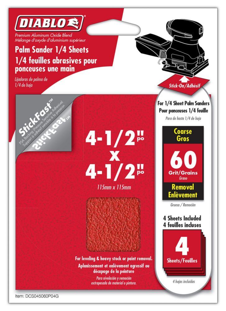 Feuille abrasif superieures 4.5x4.5 pousse Grains 60