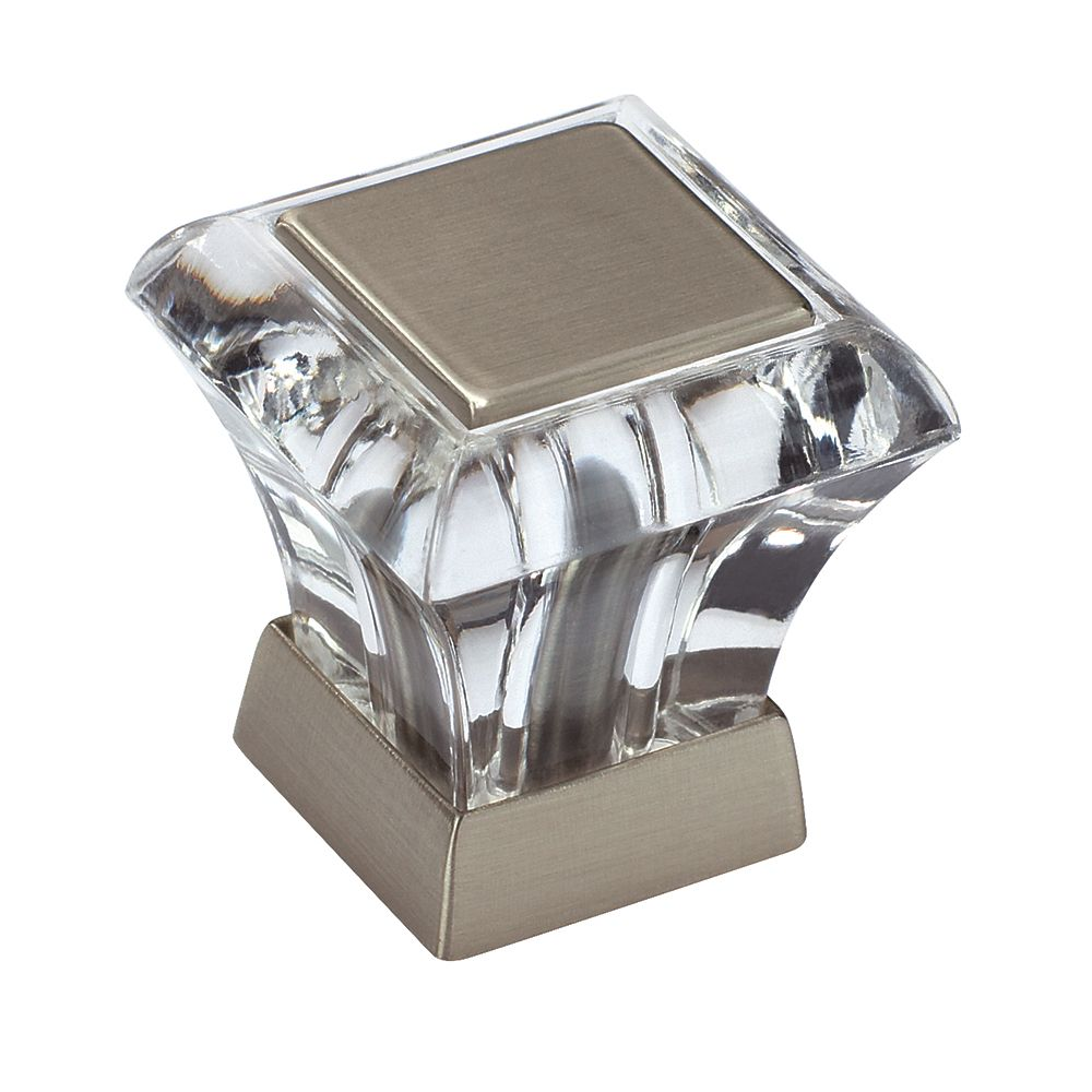 Amerock Abernathy 1-1/16 Inch (27mm) LGTH Knob - Clear/Satin Nickel