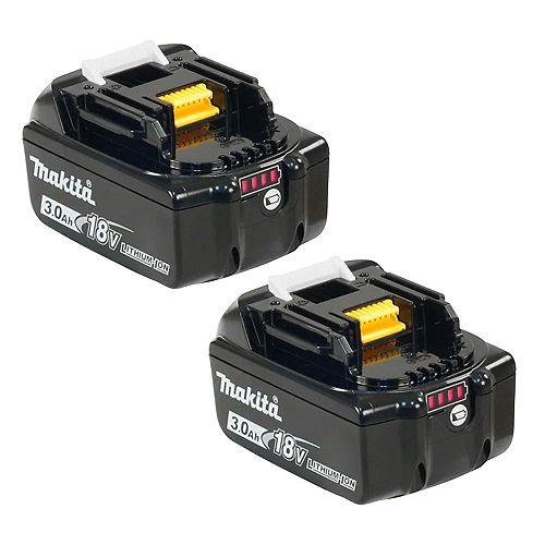 MAKITA 18V 3.0 Ah Lithium-Ion Battery (2-Pack)