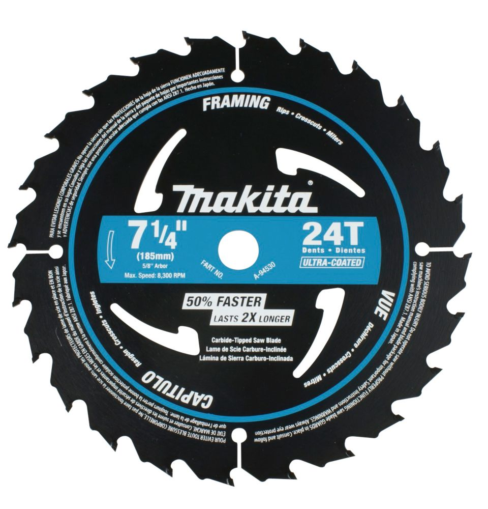 "7 1/4"" Circular Saw Blade 24CT Ultra Coated"