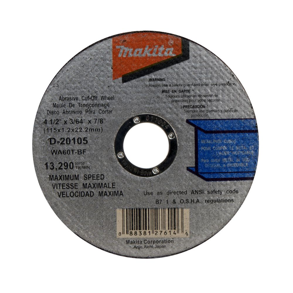 Thin Kerf Abrasive Cut-Off Wheels (4 1/2 inches x 3/64 inch x 7/8 inch)