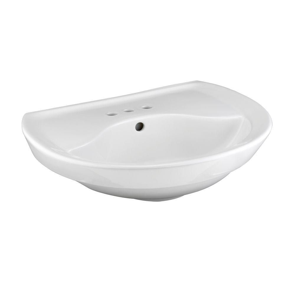 Ravenna Pedestal Sink Basin with 4 Inch Faucet Centers in White