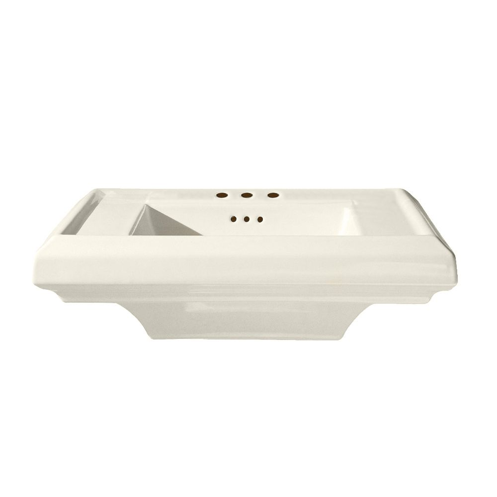 Town Square 24-inch Bathroom Pedestal Sink Basin with 8-inch Faucet Holes in Linen