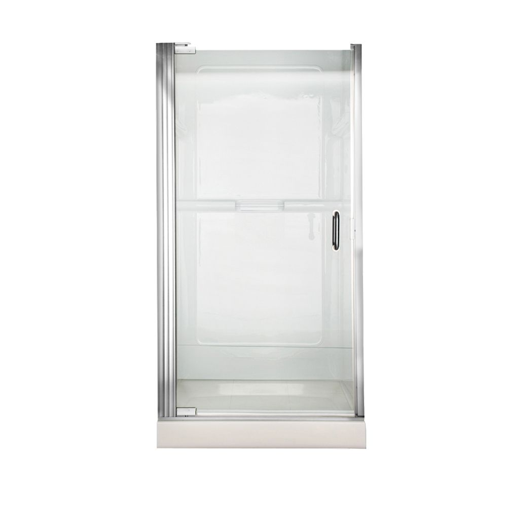 Euro 36 Inch W x 65.5 Inch H Frameless Continueous Hinge Pivot Shower Door in Silver Finish with ...