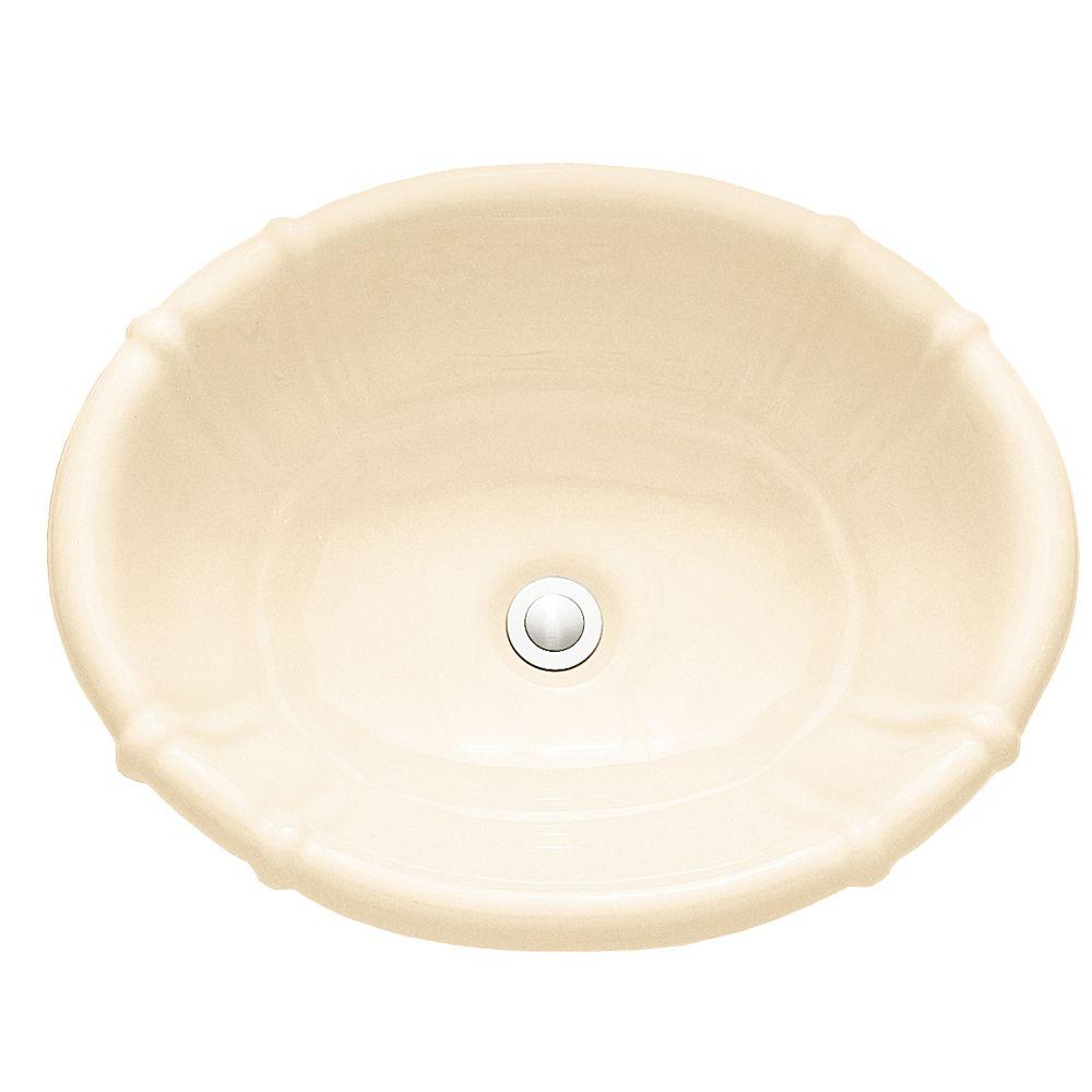 Lavabo sur comptoir à rebord intégré Ceramica Decorativa� sans plaque de robinet, de couleur os