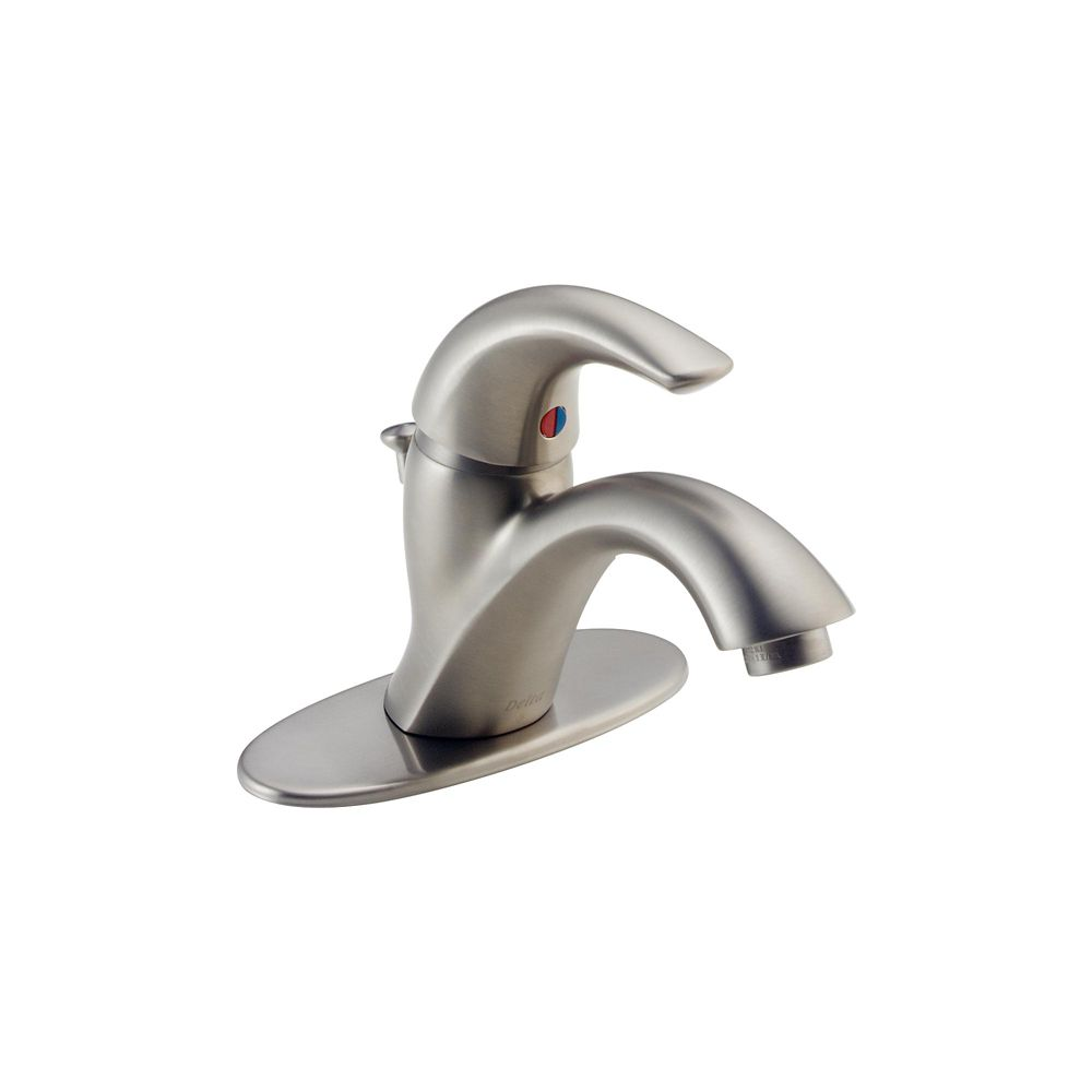 Delta Classic Single Hole 1-Handle Mid Arc Bathroom Faucet in Stainless Steel with Lever Handle