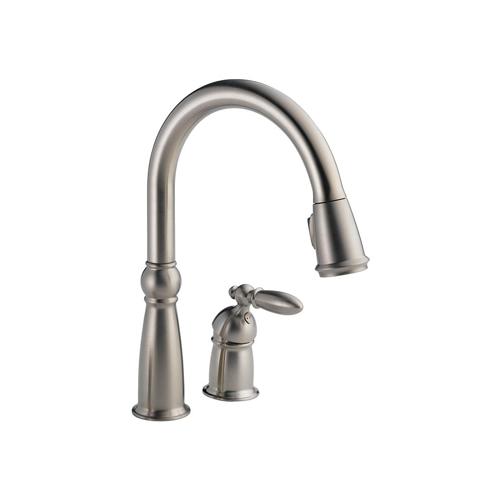 Victorian Single Handle Pull-Down Sprayer Kitchen Faucet in Stainless featuring MagnaTite Docking 955-SS-DST Canada Discount