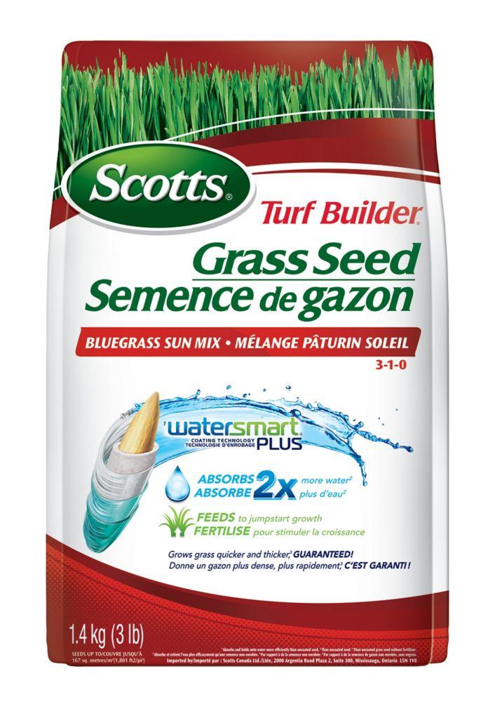 Turf Builder Coated Grass Seed Watersmart Bluegrass Sun - 1.4 Kg