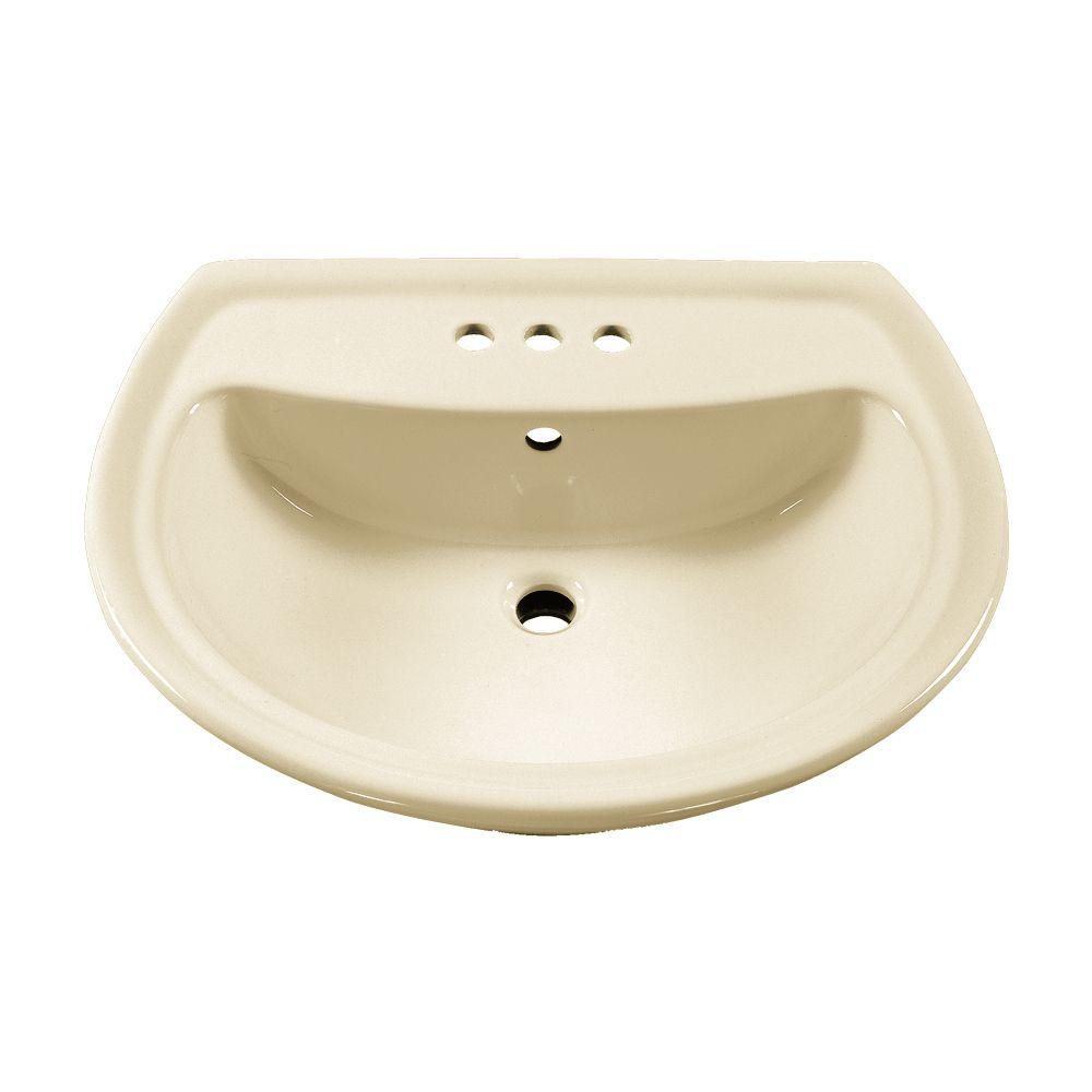 Cadet Bathroom Pedestal Sink Basin with 4-inch Faucet Holes in Linen
