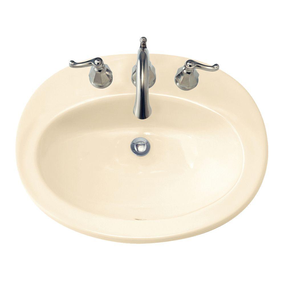 Piazza Self-Rimming Bathroom Sink in Bone