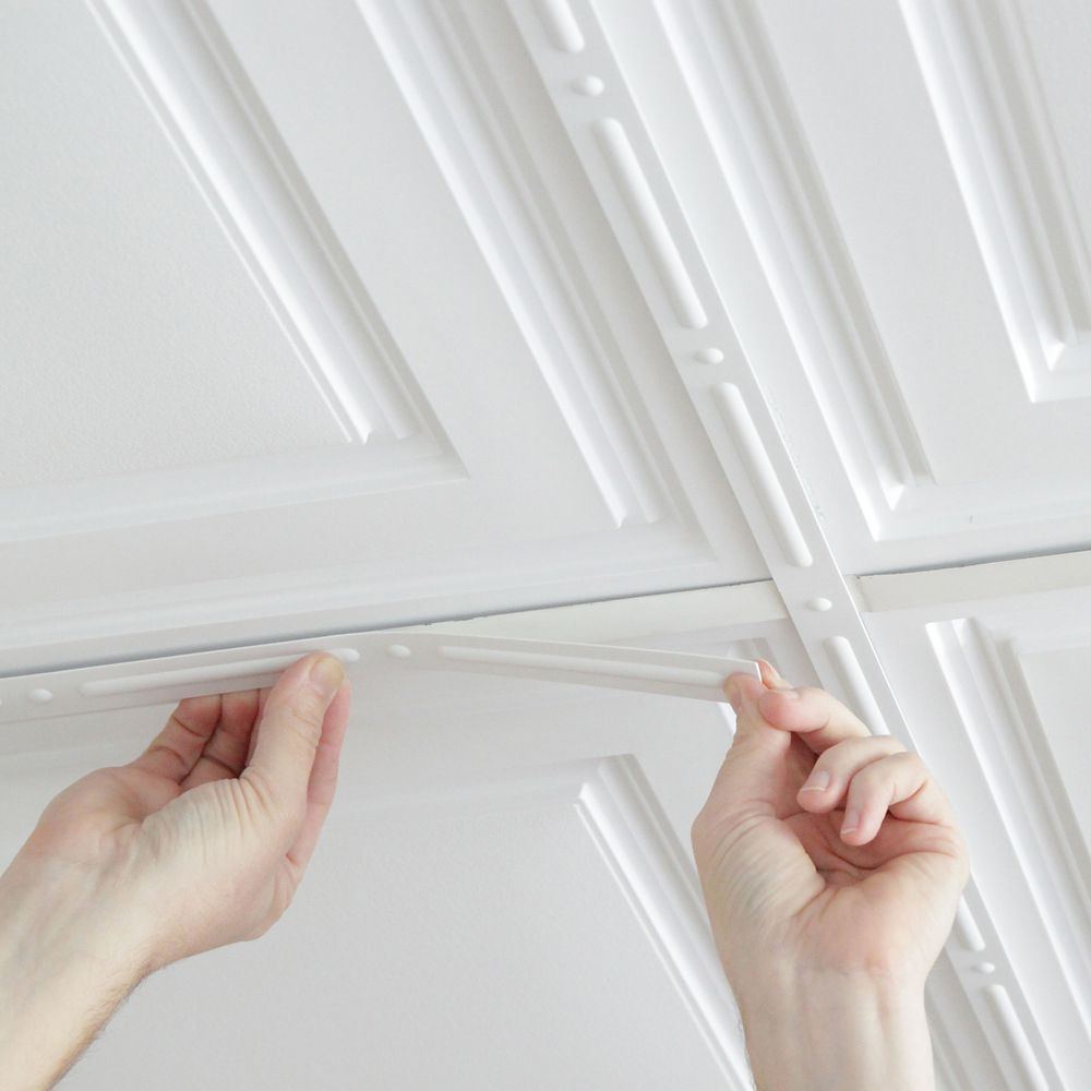 Ceiling tiles accessories the home depot canada deco strips white self adhesive decorative strips 24 inch x 1 inch dailygadgetfo Image collections