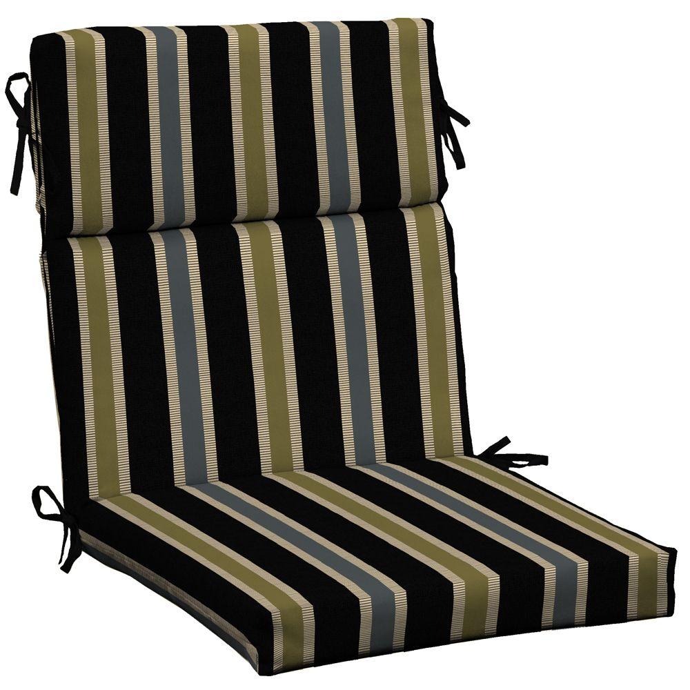 Hampton Bay High Back Outdoor Chair Cushion In Black