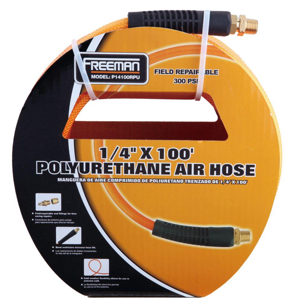 Tuyau d'air en polyuréthane avec extrémités réparables sur place 1/4 po x 100pi