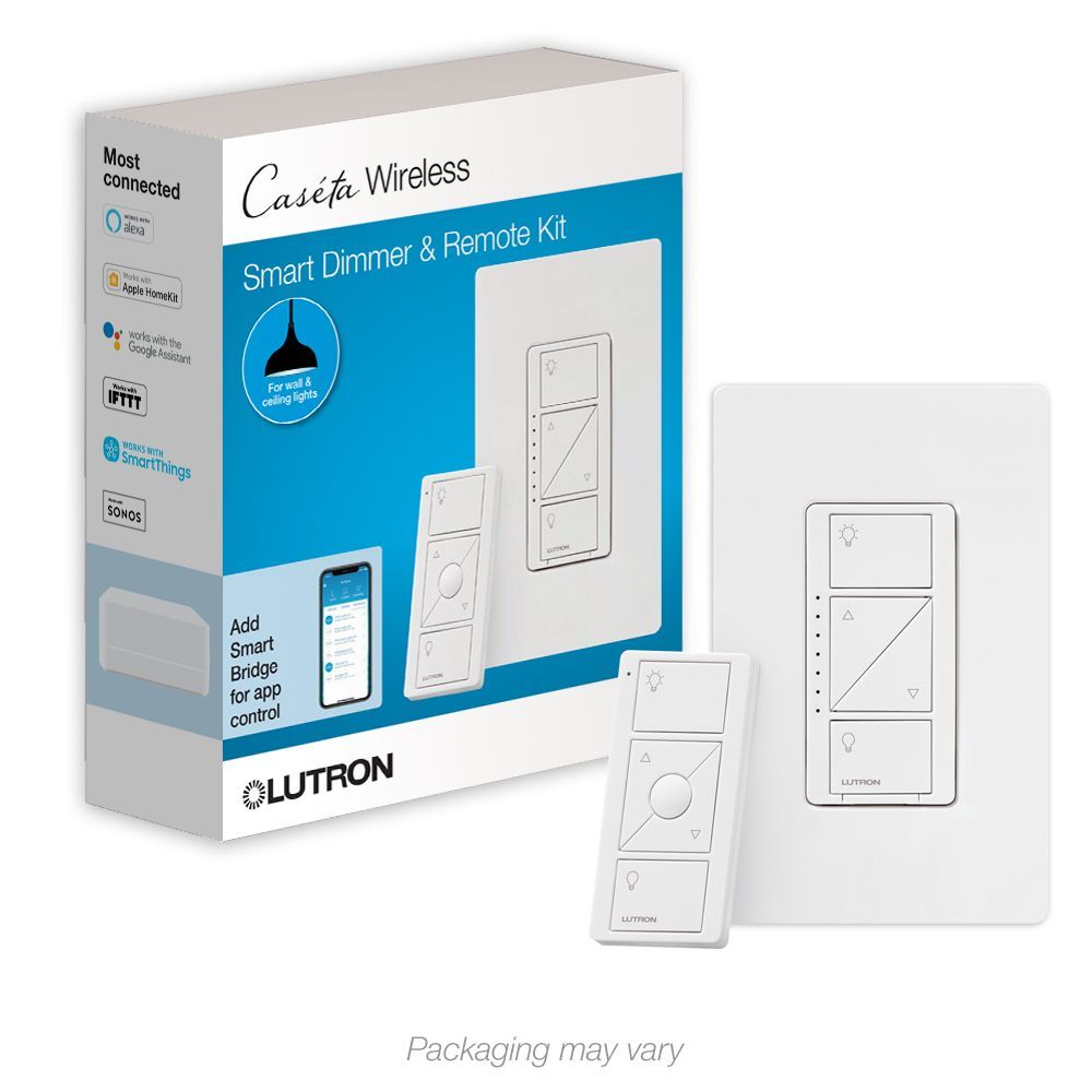 lutron caseta wireless in wall dimmer with pico remote control kit white the home depot canada. Black Bedroom Furniture Sets. Home Design Ideas