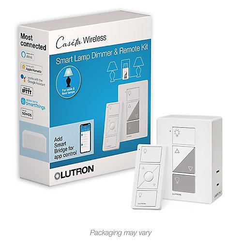 Caseta Wireless Smart Lighting Lamp Dimmer and Remote Kit, White