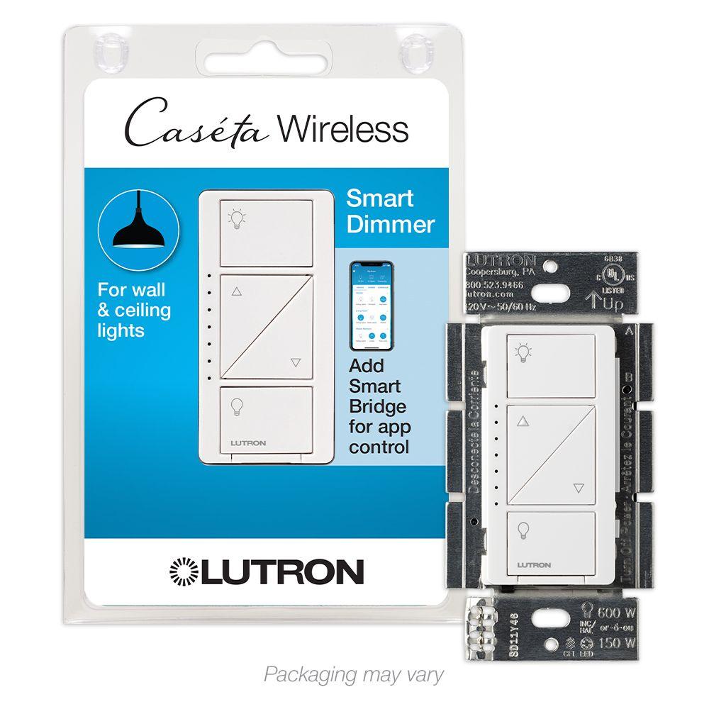 Lutron Caseta Wireless Smart Lighting Dimmer Switch for Wall & Ceiling Lights, White