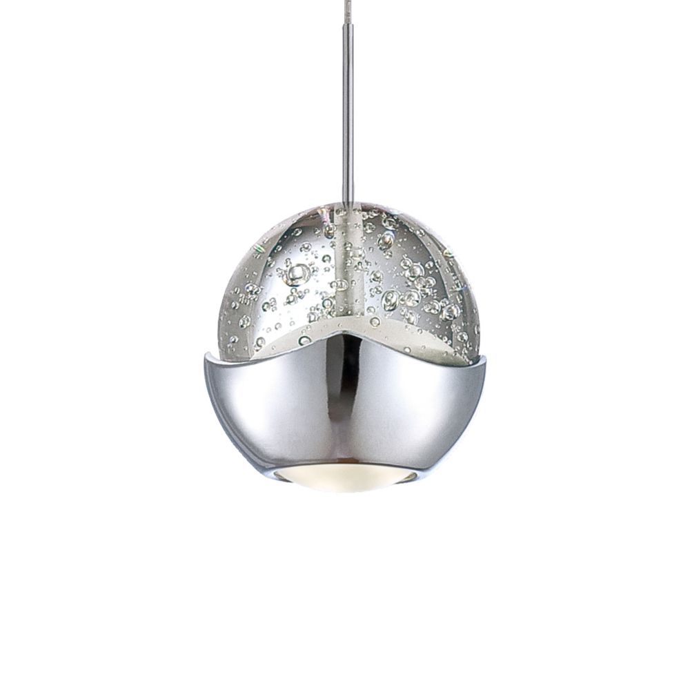Ice Collection 1 Light Chrome & Clear LED Pendant